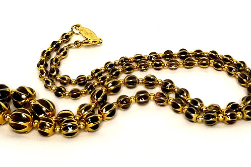 Designer By Napier, necklace, gold tone and brown enamel graduated beads 18 inch