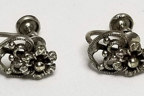 Designer by Janecraft, earrings, screw back, flower motif, silver pot metal.