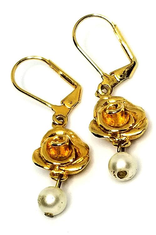 Designer by provenance, earrings, pierced wire drops, rose motif, faux pearls.