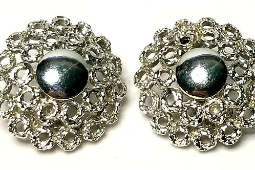 Designer by Monet, earrings, clip on, circles motif, silver tone 1 inch.