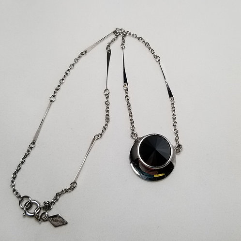 Sarah Coventry, choker necklace, black hematite Rivoli stone in silver tone