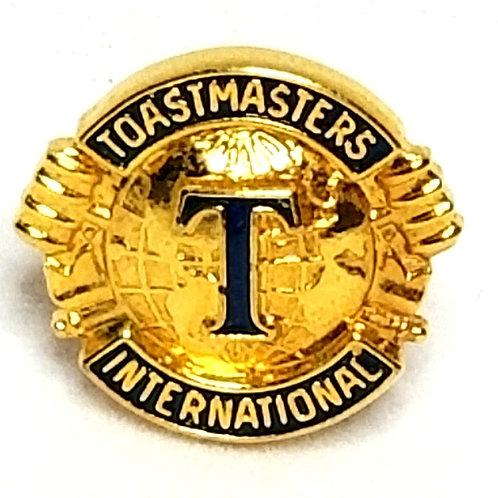 Designer by provenance, pin, Toastmasters International motif, blue enamel.