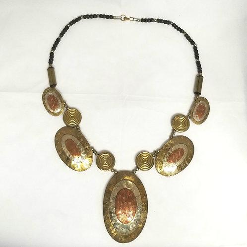 "Designer by provenance necklace, gold tone, copper tone and silver tone, 27.5"""