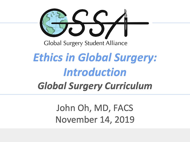 Ethics in Global Surgery: Introduction
