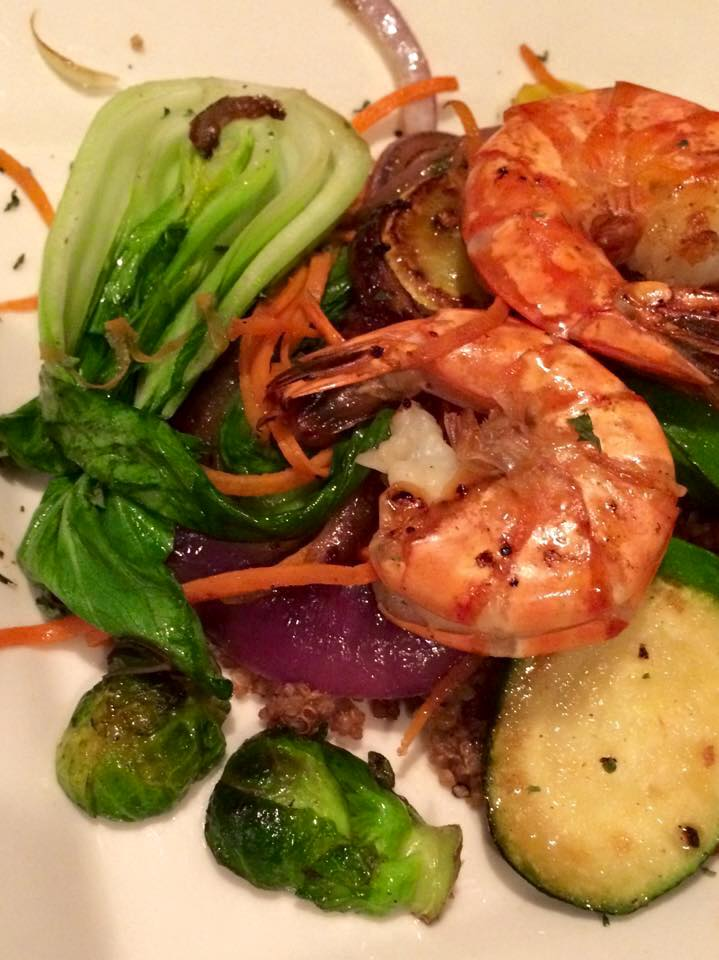 Sautéed Vegetables & Grilled Prawns