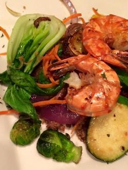 Sautéed Vegetables & Grilled Prawns