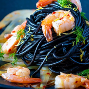 Squid Ink Spaghetti with Shrimp