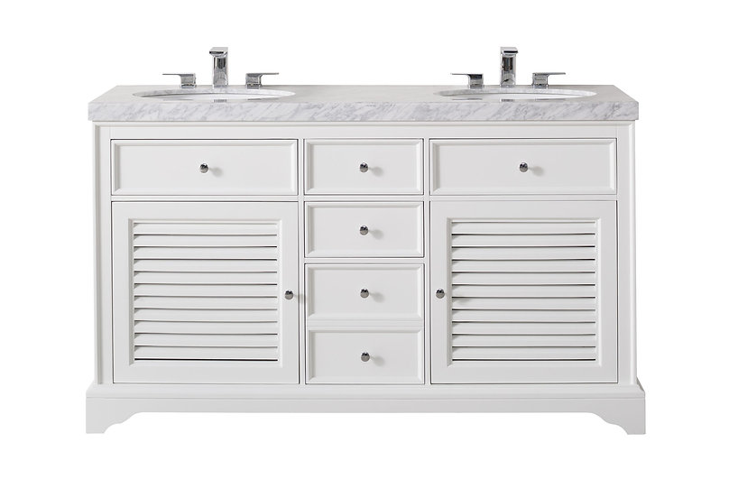 """Magnolia 60"""" White Double Sink Vanity with Drains and Faucets in Chrome"""