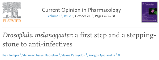 Drosophila melanogaster: a first step and stepping-stone to anti-infectives