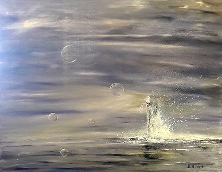 "Toile de Daniel AUBERT alias Dann intitulée ""Bulles de mer """