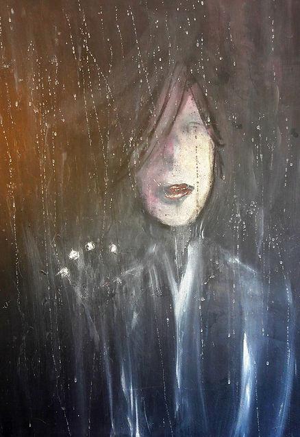 """toile intitulée """"il pleut aussi à l'intérieur"""""""