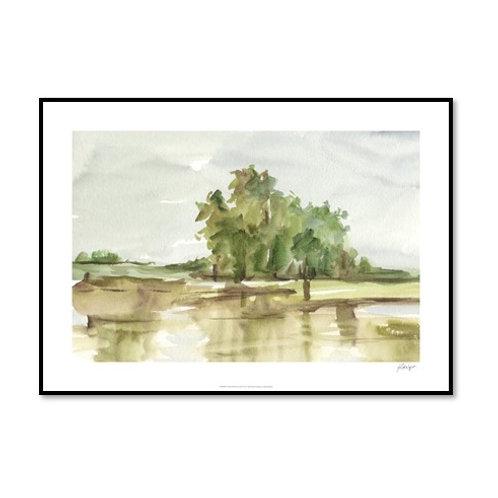 Muted Watercolour II - Framed & Mounted Art