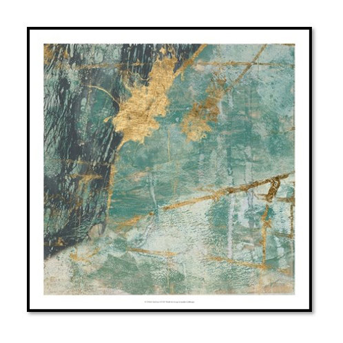 Teal Lace I - Framed & Mounted Art