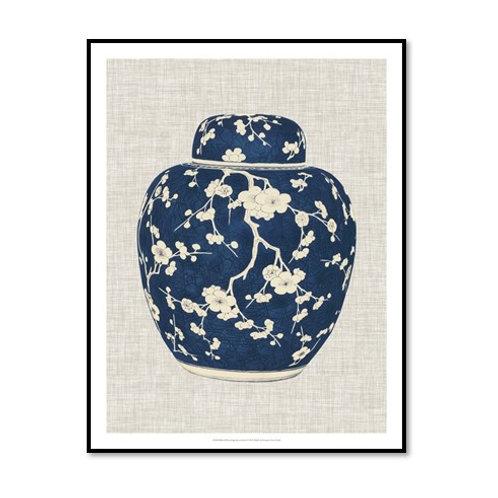 Blue & White Ginger Jar on Linen II - Framed & Mounted Art