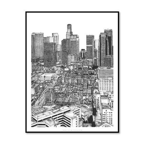B&W Us Cityscape - Los Angeles - Framed & Mounted Art