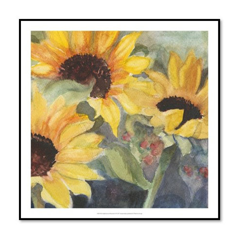 Sunflowers in Watercolour I - Framed & Mounted Art