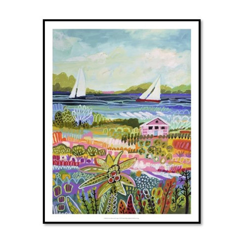 Two Sailboats and Cottage I - Framed & Mounted Art