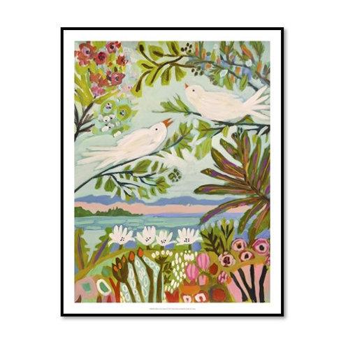 Birds in the Garden I - Framed & Mounted Art