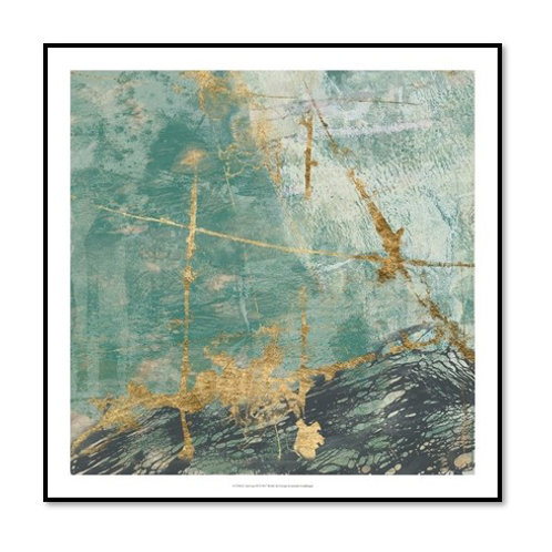 Teal Lace II - Framed & Mounted Art