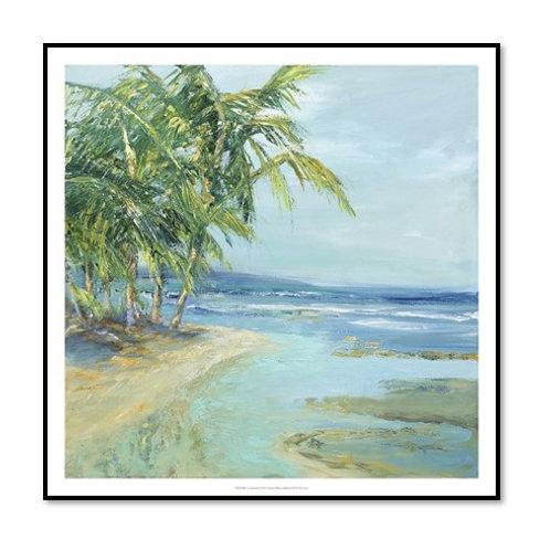 Blue Coastal Lagoon - Framed & Mounted Art
