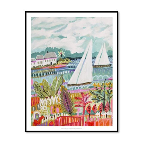 Two Sailboats and Cottage II - Framed & Mounted Art