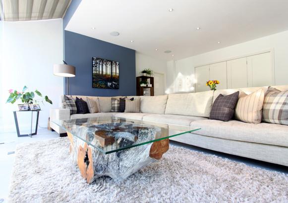 Deep Blue Wall Living Room