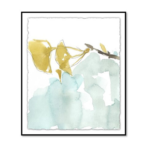 Ginkgo on Dusty Teal I - Framed & Mounted Art