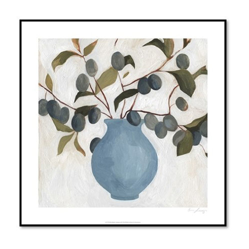 Plum Branch Arrangement II - Framed & Mounted Art
