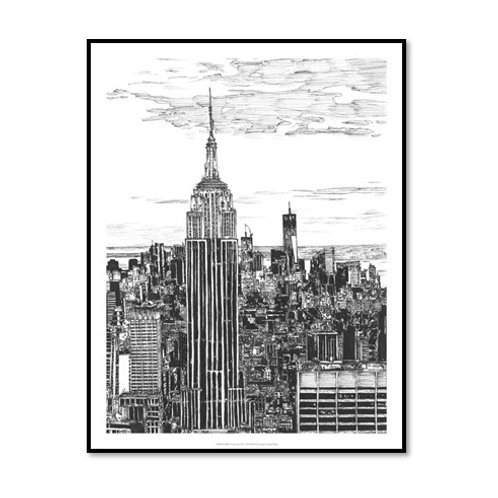 B&W Us Cityscape - NYC - Framed & Mounted Art