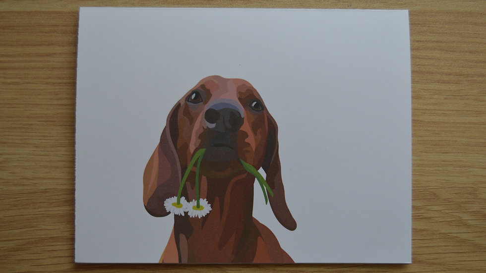 Flower Dachshund Stationary