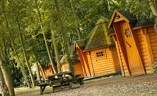 Woodland cabins at Lee Valley Campsite