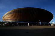 Outside of Lee Valley VeloPark with blue sky