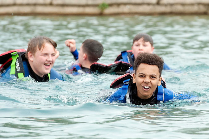 Secondary school students at Lee Valley White Water Centre