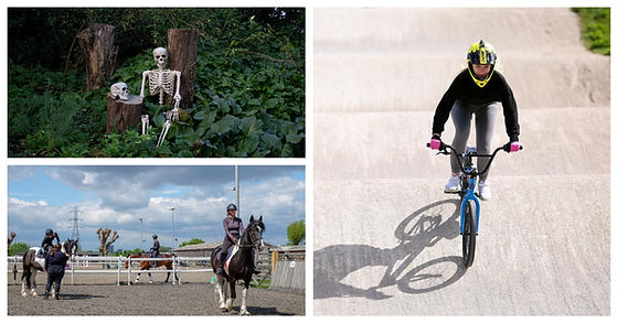 Three images: Skeleton sitting in a forest; Young girl going over berm on BMX track; Young girl sitting on a horse