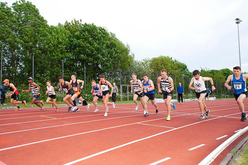 Runners on outdoor track