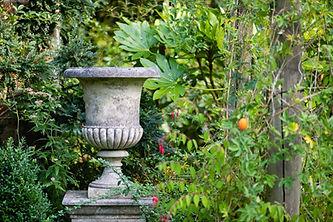 Concrete pot with leaves around it inMyddelton House Garden