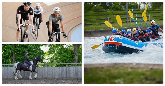 Three photos: one each of track cycling, horse riding and white water rafting