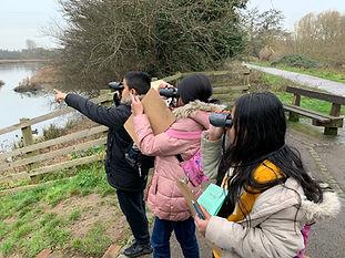 Group bird watching at Seventy Acres Lake