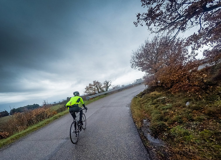 Man cycling on a public road