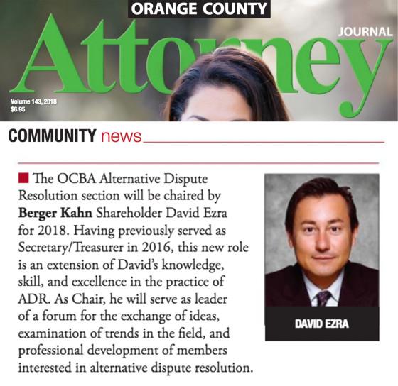 David Ezra, O.C. Attorney Journal