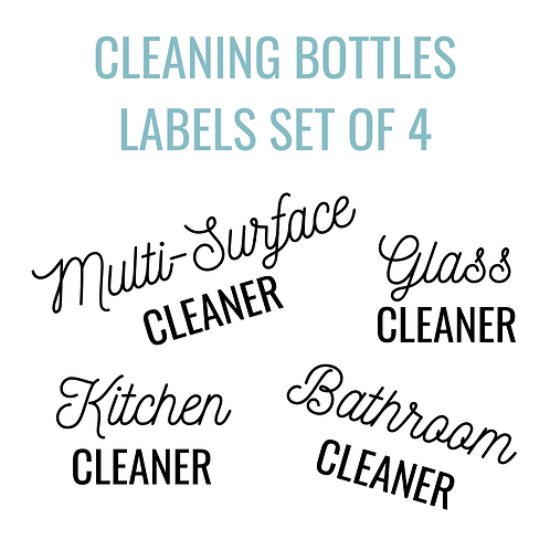 Cleaning Bottle Label Set of 4