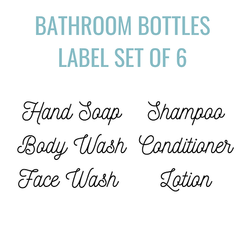 Bathroom Bottle Label Set of 6