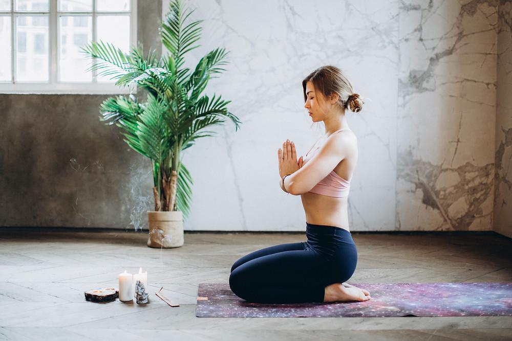 Yoga for Digestion pose 1, Vajrasana
