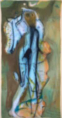 Bernhard Rappold Painting BOTO, Acrylic, Oil, Limestone & Ink on Linen, 230x120cm, 2017