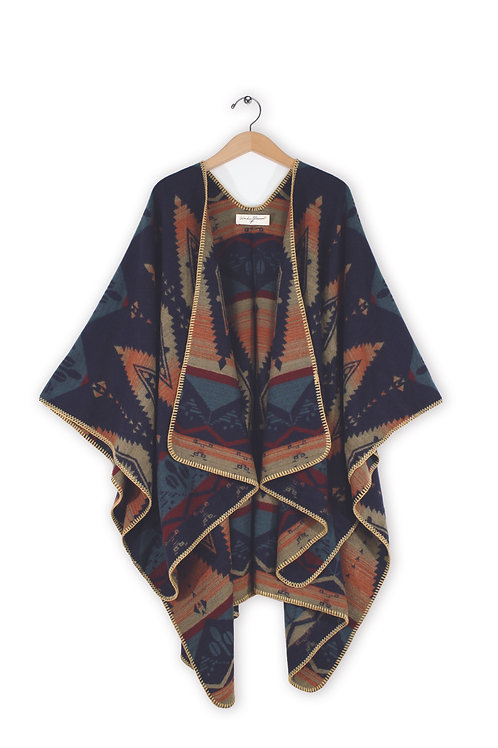 Women's Open Front Patterned Poncho