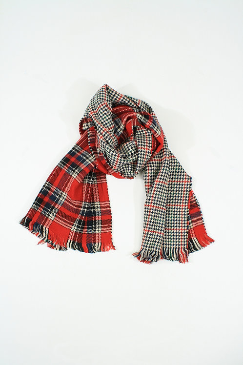 Double-faced red plaid Scarf