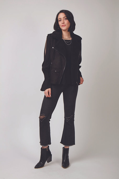 Demi Vegan Suede Fur Vest With Side Tie