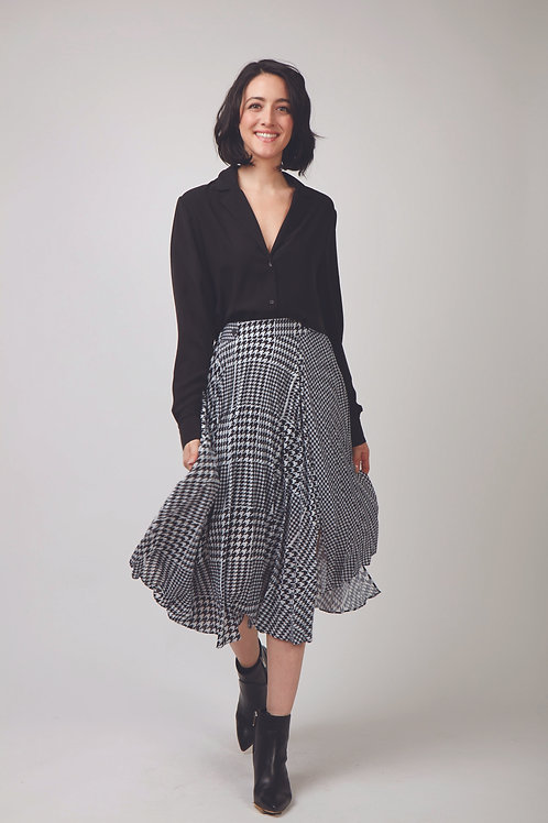Jane Asymmetrical Micropleat Mid Skirt