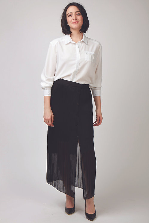 Maggie Pleated Mid Skirted With Side Buttons