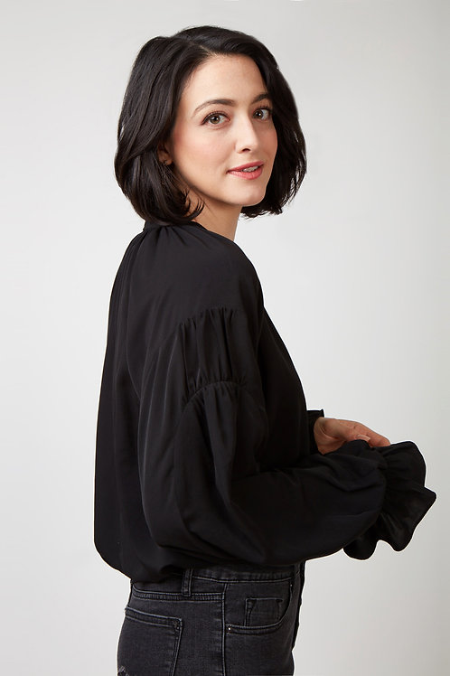 Kim HiLo Peasant Top With Smocking Bell Sleeve